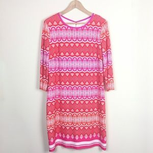 ELIZA J Geo Print 3/4 Sleeve Jersey Shift Dress